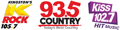 105.7 93.5 and 102.7 radio logos